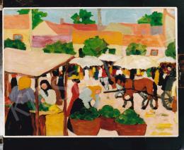 Kádár Béla - Kádár Béla: Piactér, 1910 körül. 35,8x48 cm, olaj, papír; Fotó: Kieselbach Tamás