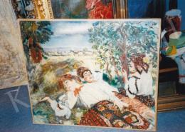 Csók István - Pihenő sokácok. olaj, vászon, 80x100 cm; Fotó: Kieselbach Tamás
