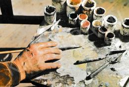 Szőnyi István - A festő keze a palettán, Girk Károly felvétele, 1956