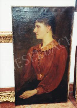 Lotz Károly - Női modell vörös ingben, olaj, vászon, Fotó: Kieselbach Tamás