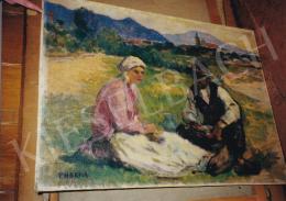Thorma János - Délebéd a nagybányai Zazar-parton, 60x80 cm, olaj, vászon, Jelezve balra lent: Thorma, Fotó: Kieselbach Tamás