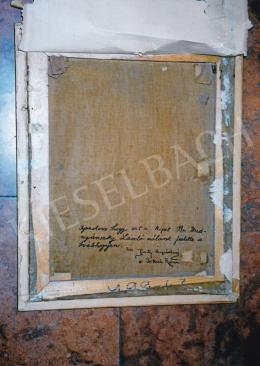 Mednyánszky László - Feszty Árpádné Jókai Róza autográf igazolása a festmény hátulján.