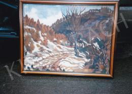 Husovszky János - Tél a veresvízi völgyben, 54x70 cm, olaj, vászon, Jelezve jobbra lent: Husovszky, Fotó: Kieselbach Tamás