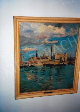 Ferenczy Valér - Kikötői látkép, olaj, vászon, Jelezve jobbra lent: Ferenczy Valér, Fotó: Kieselbach Tamás