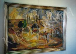 Aba-Novák, Vilmos - Village Scene, oil on canvas, Signed lower right: Aba-Novák, Photo: Tamás Kieselbach