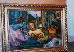 Jándi Dávid - Asztal körül, 46,5x69,5 cm, olaj, falemez, Jelezve balra lent: Jándi, Fotó: Kieselbach Tamás