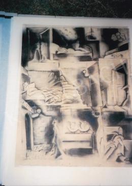 Gyenes Gitta - Garni Szálló, 1932; szén, papír; Jelezve balra lent: Gyenes Gitta 1932; Fotó: Kieselbach Tamás