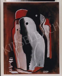 Kádár Béla - Fehér és fekete ló nőalakkal, 30x20,5 cm, tempera, papír, Jelezve jobbra lent: Kádár Béla, Fotó: Kieselbach Tamás