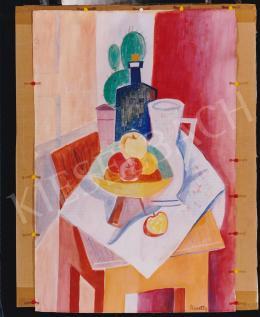 Kmetty János - Asztali csendélet, akvarell, papír, Jelezve jobbra lent: Kmetty, Fotó: Kieselbach Tamás