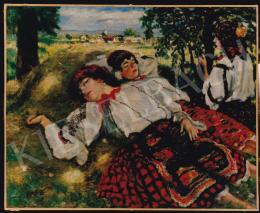 Csók István - Pihenő sokácok, 77x94,5 cm, olaj, vászon, Jelezve balra lent: Csók I., Fotó: Kieselbach Tamás