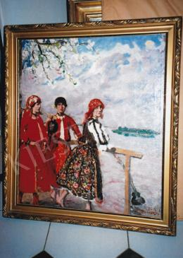 Csók István - Pirosruhás lányok virágzó almafával, olaj, vászon, Jelezve jobbra lent: Csók I., Fotó: Kieselbach Tamás