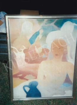 Gyenes Gitta - Lány szarvasokkal; tempera, vászon; Jelezve balra lent: Gyenes Gitta; Fotó: Kieselbach Tamás