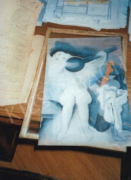 Kádár Béla - Lány mandolinnal; tempera; papír; Jelezve jobbra lent: Kádár Béla; Fotó: Kieselbach Tamás