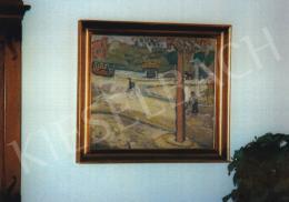 Gyenes Gitta - Kertváros villamossal, 1910 körül; 53,5x64 cm; olaj, vászon; Jelzés nélkül; Fotó: Kieselbach Tamás