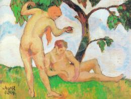 Kádár Béla - Ádám és Éva; olaj, vászon; Jelezve balra lent: Kádár Béla; Fotó: MNG