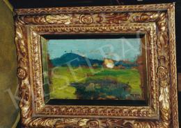 Thorma János - Tájkép háttérben házban és hegyekkel, olaj, farost, Jelezve jobbra lent: Thorma, Fotó: Kieselbach Tamás