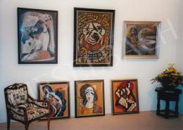 Scheiber, Hugó - Kieselbach Gallery Exhibition; Left Kádár Béla: Art Deco Madonna; Middle Scheiber Hugó: Cirkusz bohóccal; Right Sayy Attila: Kávéház teraszán; Photo: Kieselbach Tamás