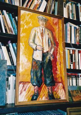 Márffy Ödön - Férfi narancs háttér előtt, 115x63 cm, olaj, vászon, Jelezve a hátoldalon: Budapest 1908 M.Ö., Fotó: Kieselbach Tamás