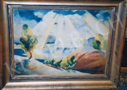 Ducsay Béla - Fénycsóvák a Dunakanyar felett, 1930, 60x80 cm, olaj, vászon, Jelezve balra lent: Ducsay Béla 1930, Fotó: Kieselbach Tamás