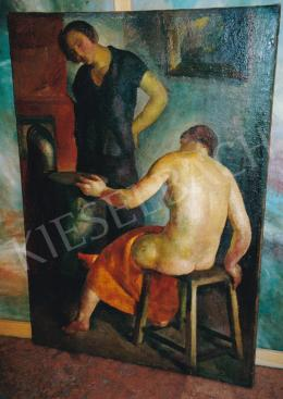 Patkó Károly - Jelenet kályhánál, 1926, olaj, vászon, Jelezve jobbra lent: Patkó 1926, Fotó: Kieselbach Tamás