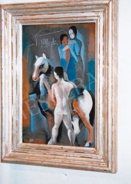 Kádár Béla - Ló lovasával; vegyestechika, papír; Jelezve balra lent: Kádár Béla; Fotó: Kieselbach Tamás