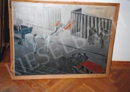 Gyenes Gitta - Szénhordók, 1935; 60x80 cm; olaj, vászon; Jelezve jobbra fent: Gyenes Gitta 1935; Fotó: Kieselbach Tamás