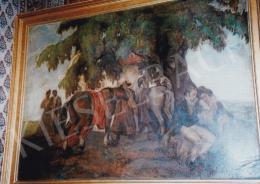 Kádár Béla - Fogadó előtt; 72,5x100; olaj, karton; Jelezve balra lent: Kádár Béla; Fotó: Kieselbach Tamás