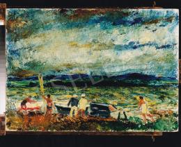Vaszary János - Evezősök vízparton, 1920 körül, 50x69,5 cm, olaj, karton, Jelezve balra lent: Vaszary János, Fotó: Kieselbach Tamás