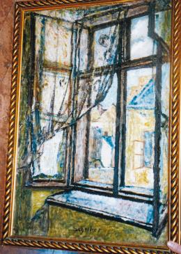 Scheiber, Hugó - View from the Window; 73x50,5 cm; oil on cardboard; Signed lower middle: Scheiber; Photo: Tamás Kieselbach