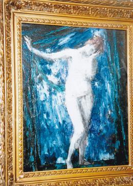 Vaszary János - Akt kék háttérrel, 1920 körül; 50x39,5 cm; olaj, fa; Jelezve jobbra lent: Vaszary; Fotó: Kieselbach Tamás