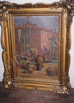 Gergely Imre - Piaci jelenet, olaj, vászon, Jelezve balra lent: Gergely Imre, Fotó: Kieselbach Tamás
