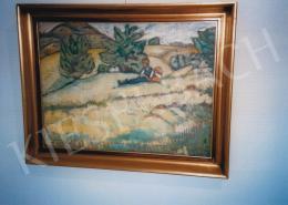Gyenes Gitta - Domboldalon pihenők; 53x72 cm; Olaj, vászon; Jelezve balra lent: Gyenes Gitta; Fotó: Kieselbach Tamás