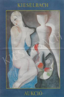 Kádár Béla - Fátyolos női akt tükörrel (70x100 cm; tempera, papír; Jelezve balra lent: Kádár Béla) a Kieselbach Galéria 1. Aukcióján