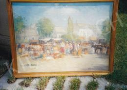 Halasi Horváth, István (Horváth István) - Market Scene; Signed loer right: Halasi Horváth I. ... Újpest; Photo: Tamás Kieselbach