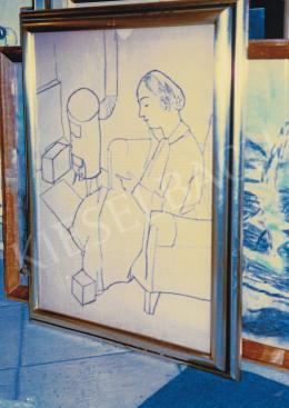 Vajda Lajos - Anna Margit kályha mellett, 1934; 63,3x47,4 cm; szén, papír; Jelzés nélkül; Fotó: Kieselbach Tamás