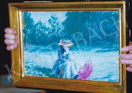 Vaszary János - Ülő nő lila napernyővel; 27x42.5 cm; Olaj, fa; J. b. l.: Vaszary J 1909; Fotó: Kieselbach Tamás