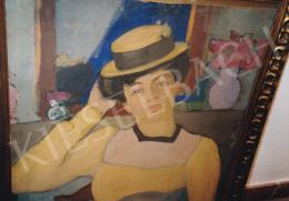 Márffy Ödön - Szalmakalapos nő, 1906 körül, olaj,karton, 81x64 cm, Jelezve balra lent: Márffy Ödön; Fotó: Kieselbach Tamás