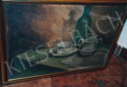 Scheiber, Hugó - Table Still Life with Bottle and Coffee Sup, Signed lower right: Scheiber; Photo: Tamás Kieselbach