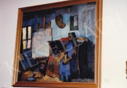 Nagy Oszkár - Pihenő öreg néni, olaj,vászon, 71x81 cm, Jelezve jobbra lent: Nagy Oszkár; Fotó: Kieselbach Tamás