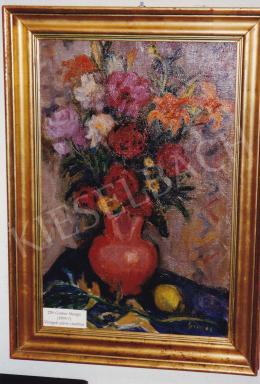 Gráber Margit - Virágcsendélet, olaj,vászon, 62,5x40,5 cm, Jelezve jobbra lent: Gráber; Fotó: Kieselbach Tamás