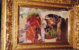Herrer Cézár - Spanyol virágpiac, olaj,vászon, 50,5x32 cm, Jelezve jobbra lent: Herrer C.; Fotó: Kieselbach Tamás