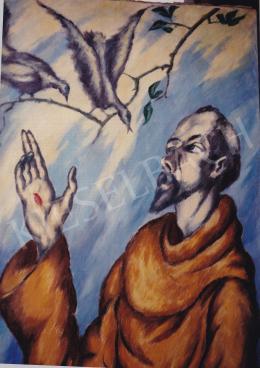 Schadl János - Szent Ferenc, olaj,vászon, 97,5x74 cm, Jelezve balra lent: S. J. 918.; Fotó: Kieselbach Tamás