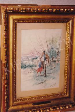Karlovszky Bertalan - Szerelmes pár vízpartnál, vegyestechnika, papír, 24,5x17 cm, Jelezve jobbra lent: Karlovszky B; Fotó: Kieselbach Tamás