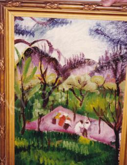 Lehel Mária - Domboldal, olaj,karton, 49x33,5 cm, Jelezve jobbra lent: Lehel Mária 912; Fotó: Kieselbach Tamás