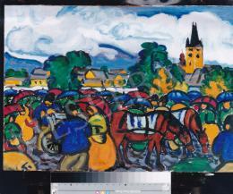 Boromisza Tibor - Őszi esős vásár Nagybányán, olaj,karton, 49x69,5 cm, Jelezve a hátoldalán: Boromissza Tibor 1914; Fotó: Kieselbach Tamás