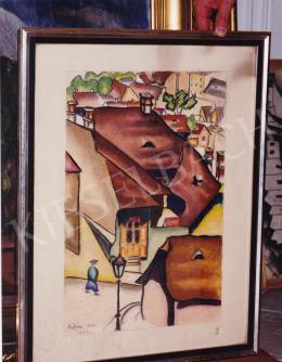 Pap Géza - Tabáni részlet gázlámpával, szén,papír, 33,5x49 cm, Jelezve jobbra lent: Scheiber H.; Fotó: Kieselbach Tamás