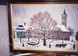 Husovszky János - Nagybányai táj télen, olaj,vászon, 70x100 cm, Jelezve balra lent: Husovszky, Fotó: Kieselbach Tamás