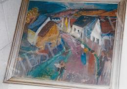Szőnyi István - Zebegényi utca, 1920-as évek vége; 67x74,5; tempera, falemez; Jelezve jobbra lent: Szőnyi I; Fotó: Kieselbach Tamás