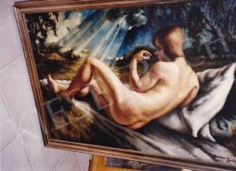 Ducsay Béla - Akt tájban, olaj,vászon, 65x100 cm, Jelezve jobbra lent: Ducsay Béla 1926; Fotó: Kieselbach Tamás