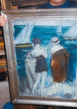 Vaszary János - Vitorlákat néző nők kikötőben; jelezve balra fent: Vaszary J.; Fotó: Kieselbach Tamás
